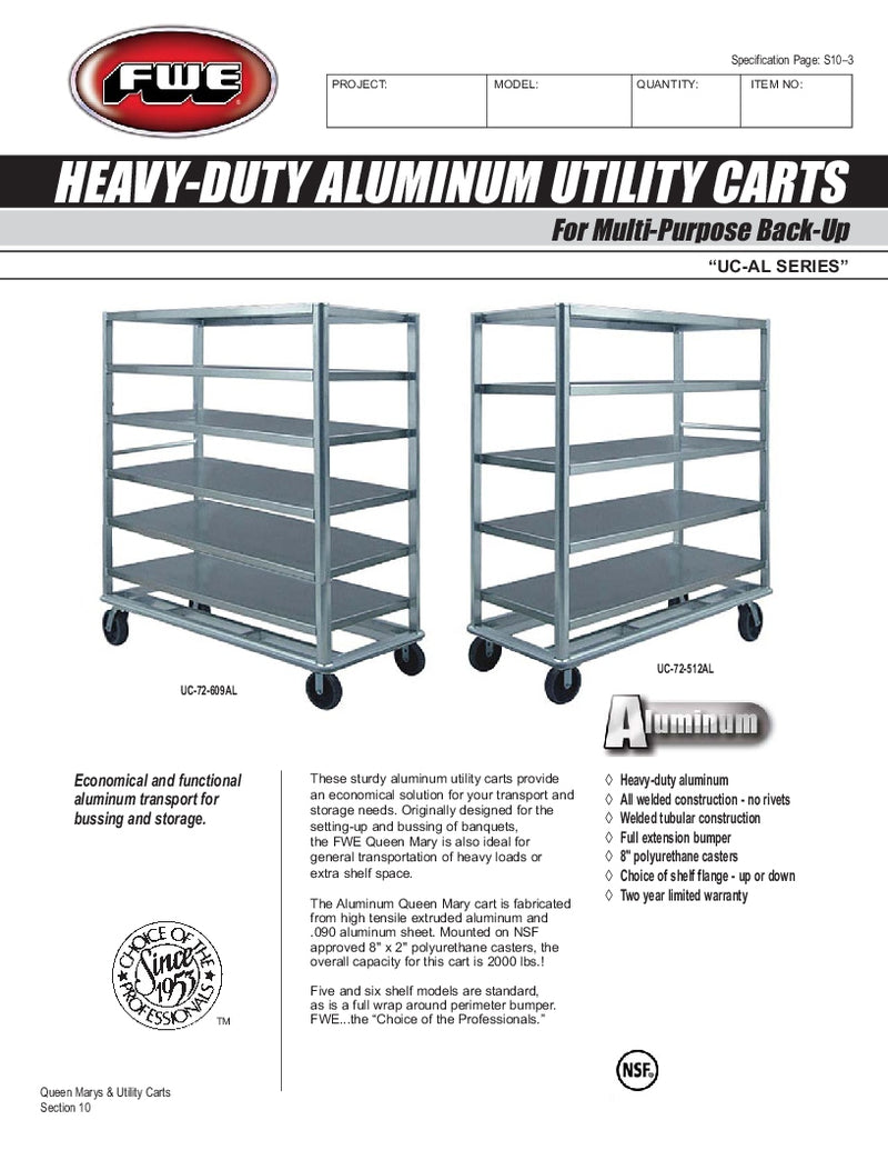 "FWE Model UCU-72-609AL Aluminum Queen Mary Utility Cart with 6 Shelves 24"" x 69"""