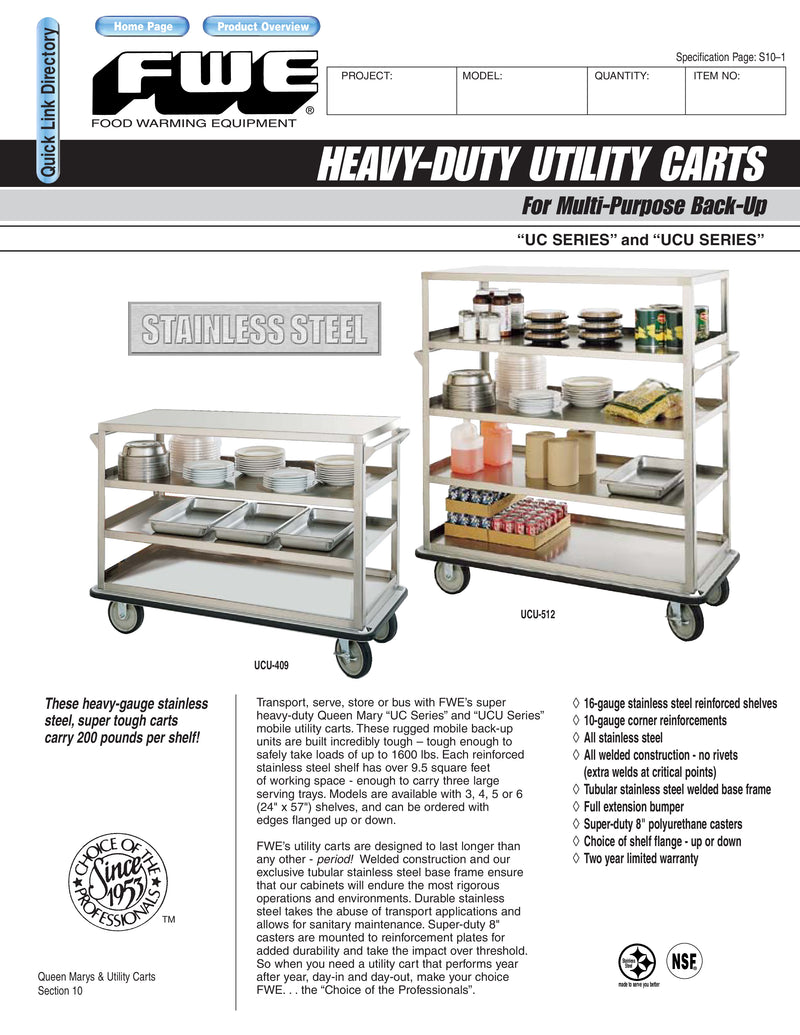 "FWE Model UCE-415 Super Duty Queen Mary Utility Cart with 4 Shelves 24"" x 50"""