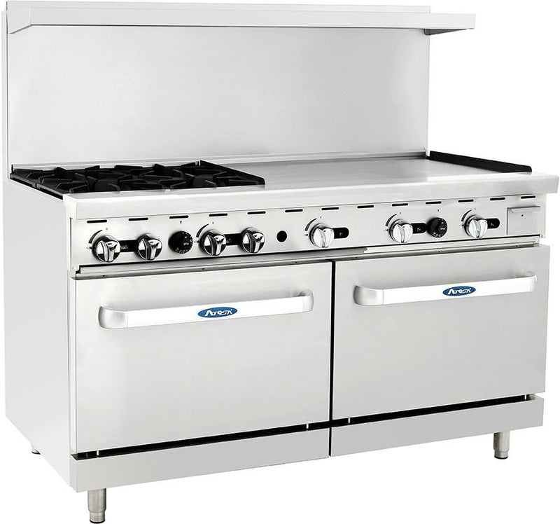 "Atosa ATO-4B36G 60"" Commercial Gas Range w/ 4 Burners, 36"" Griddle, (2) 26.5 Ovens - Summit Restaurant Supply"