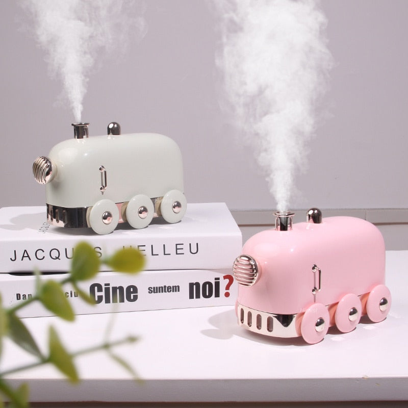 300ml Ultrasonic Humidifier Retro Mini Train USB Aroma Air Diffuser Essential Oil Mist Maker Fogger With Color LED Light