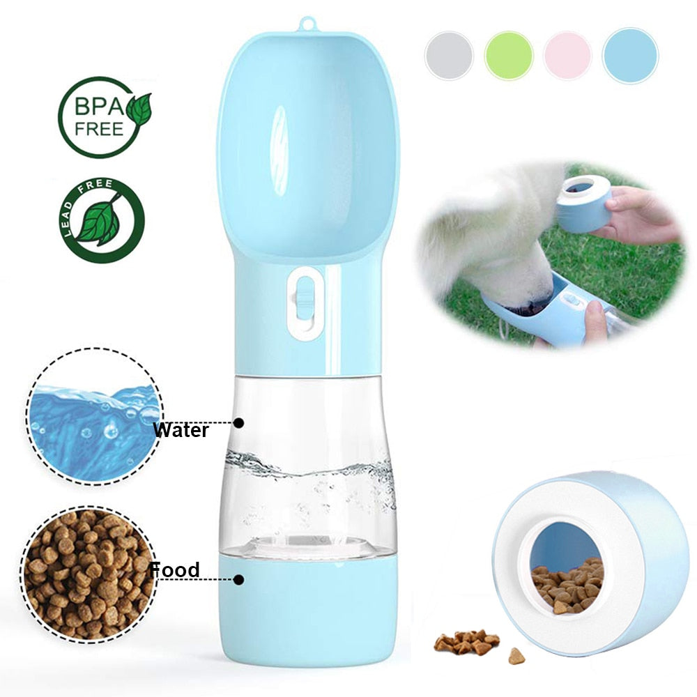 All in 1 Portable Pet Dual-use Leakproof Water and Food Dispenser