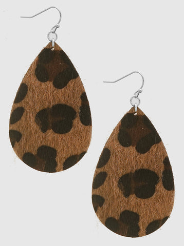 Leopard Print Teardrop Earrings - Brown