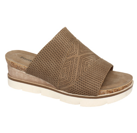 Leslie Wedge Sandals - Taupe