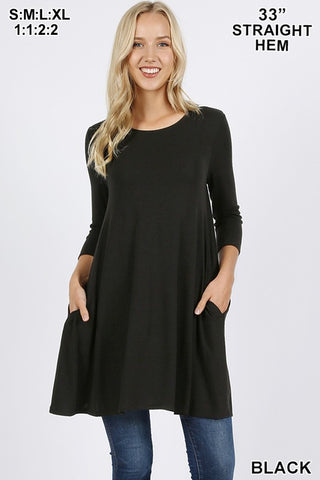Everyday 3/4 Sleeve Tunic - Plus Size in Black