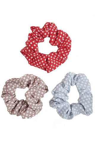 Set of Three Polka Dot Scrunchies