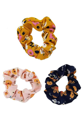 Set of Three Poppy Floral Hair Scrunchies
