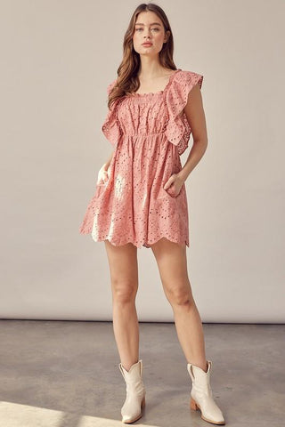 Sing Praise Romper Dress in Pink