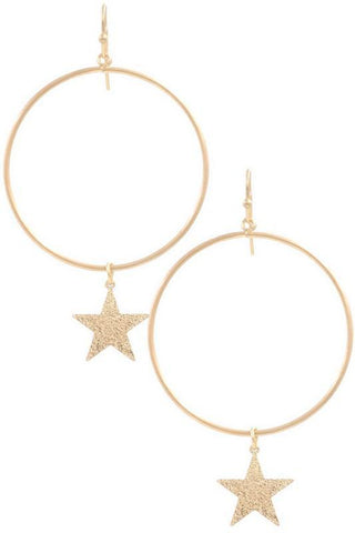 Star Drop Hoop Earrings