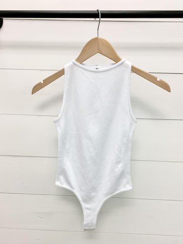 Seamless High Neck Top BodySuit in White