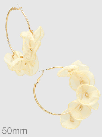 Chiffon Floral Hoop Earrings