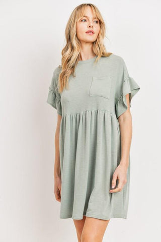 Be Confident Babydoll Dress in Sage