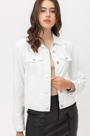 Loosen Up Ripped Denim Jacket in White