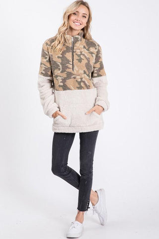 Camouflage Zip-Up Sherpa
