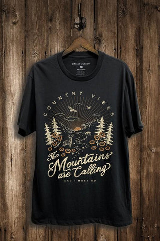 Country Vibes Mountains Tee in Black