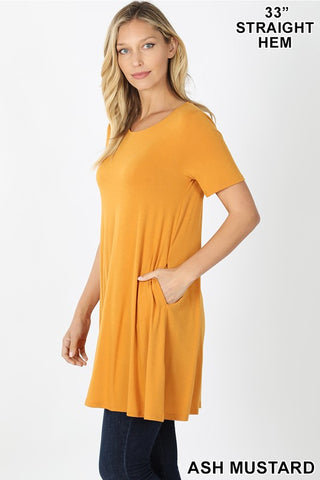 Everyday Short Sleeve Tunic  - Plus Size in Mustard