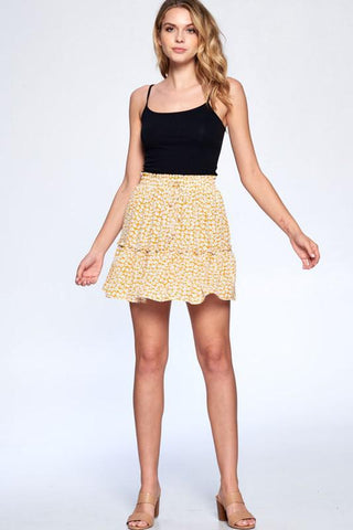 Feel Like Dancing Skirt in Floral Mustard