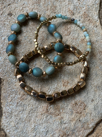 Set of 3 Stretchable Bracelets - Blue Harmony