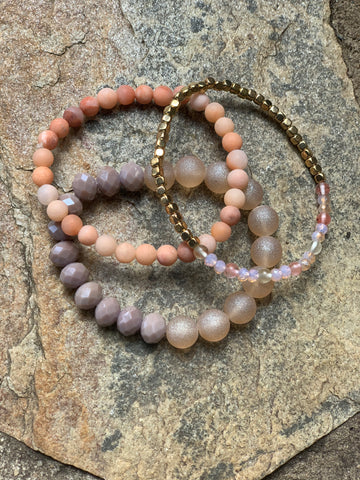 Set of 3 Stretchable Bracelets - Pretty Peachy