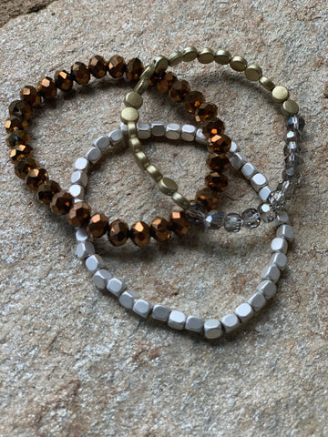 Set of 3 Stretchable Bracelets - Metal Mania