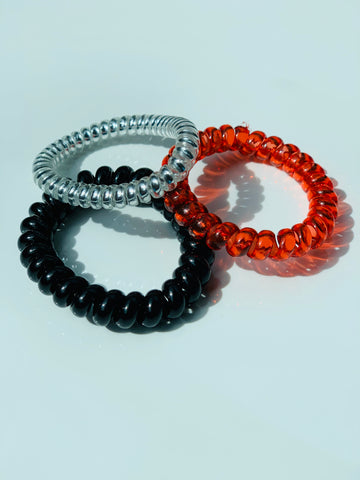 Tele Cord Hair Ties - Set of Three - Fiery