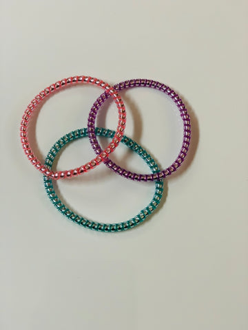 Tele Cord Hair Ties - Set of Three - Pastel