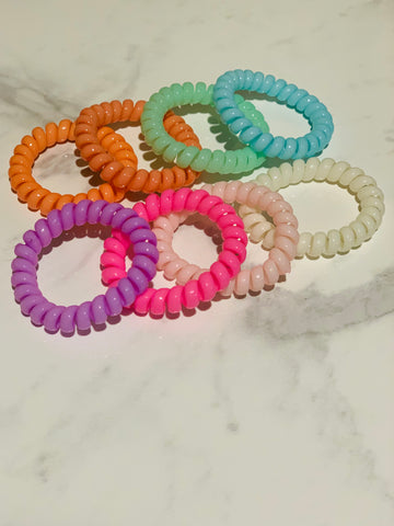 Tele Cord Hair Ties - Set of 8 - Summer Lovin'