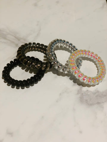 Tele Cord Hair Ties - Set of 4 - Gun Metal Metallic
