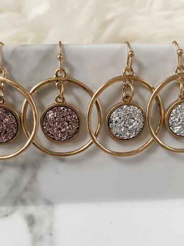 Druzy Round Dangle Earrings