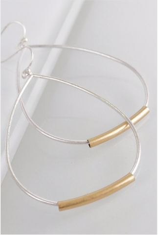 Urban Tear Drop Hoop Earring - Silver