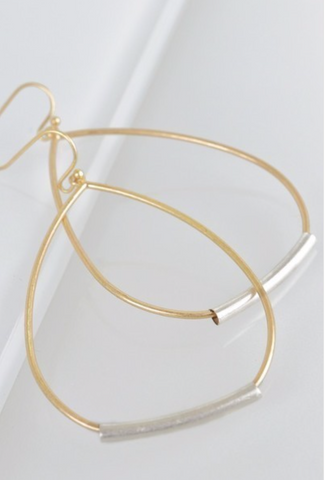 Urban Tear Drop Hoop Earring - Gold