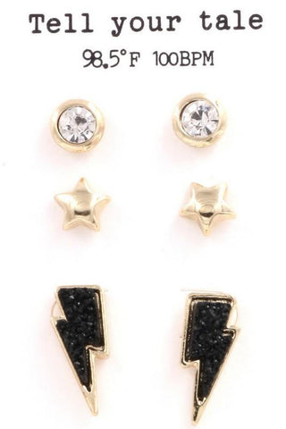 Bolt of Light Stud  Earrings Set - Black