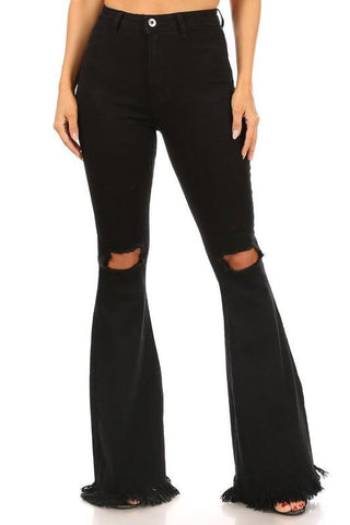 Frayed Bell Bottom Pants in Black