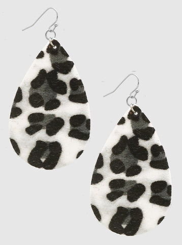 Leopard Print Teardrop Earrings - White