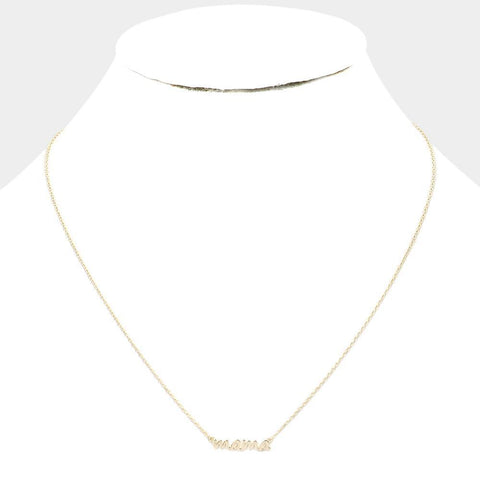 Mama Pendent Necklace - Gold