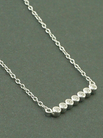 925 Sterling Silver Round Horizontal Bar Delicate Necklace