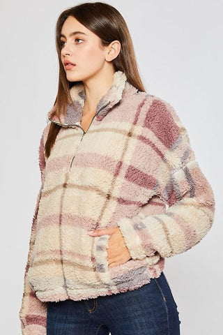 It's Possible Plaid Sherpa Pullover