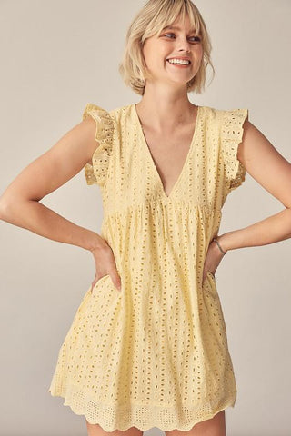 Daydreamer Romper Dress in Lemon