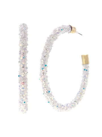 The Glam Girl Glitter Hoops - Abolone