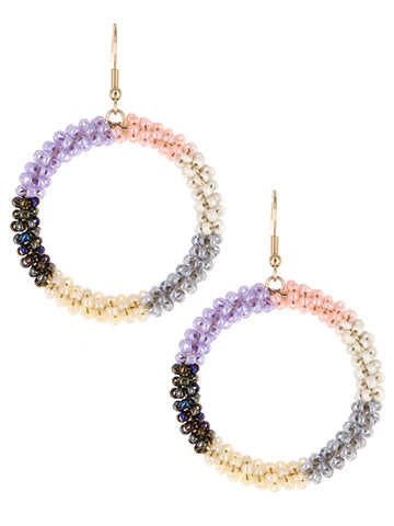 Cindy Beaded Circle Earrings - Light