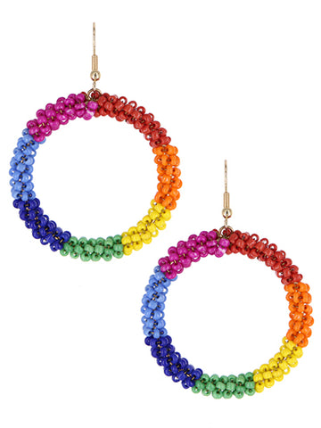 Cindy Beaded Circle Earrings - Bright