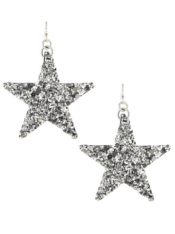 Shine Bright Star Sequin Earrings - Silver
