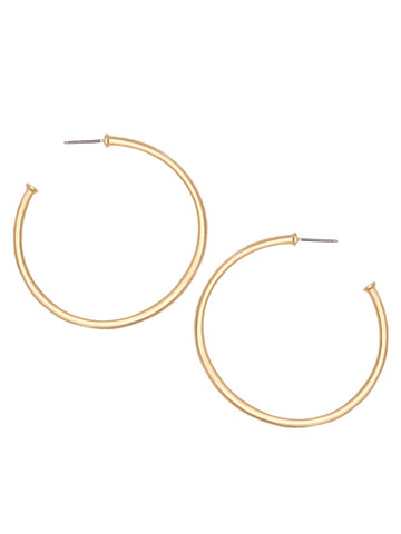 Carson Hoop Earrings - Matte Gold