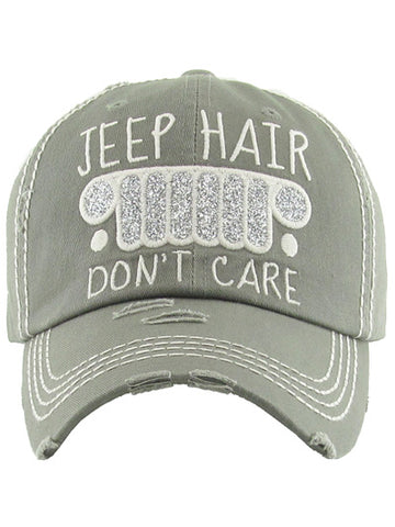 Jeep Hair Don't Care Vintage Baseball Cap Hat