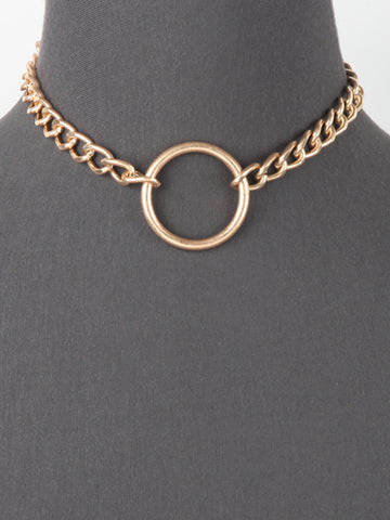 Chunky Chain Round Pendant Necklace - Worn Gold