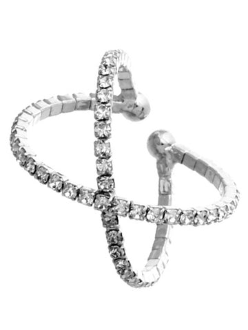 Rhinestone Crossing Adjustable Ring