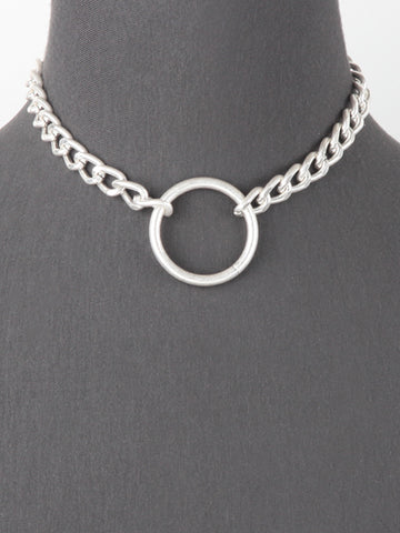 Chunky Chain Round Pendant Necklace -  Silver