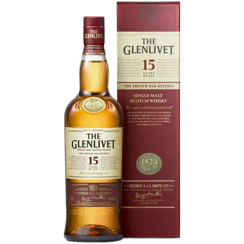 Glenlivet Single Malt Scotch, 15 yrs Aged  French Oak, 750ML