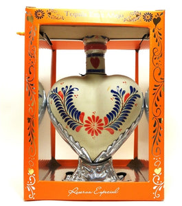 Grand Love Heart Hand Painted Ceramic Par 72 Tequila Extra Anejo 750ml
