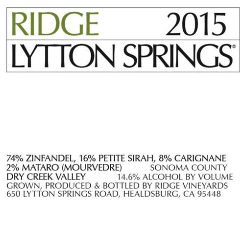 Ridge Lytton Springs Zinfandel 750ml