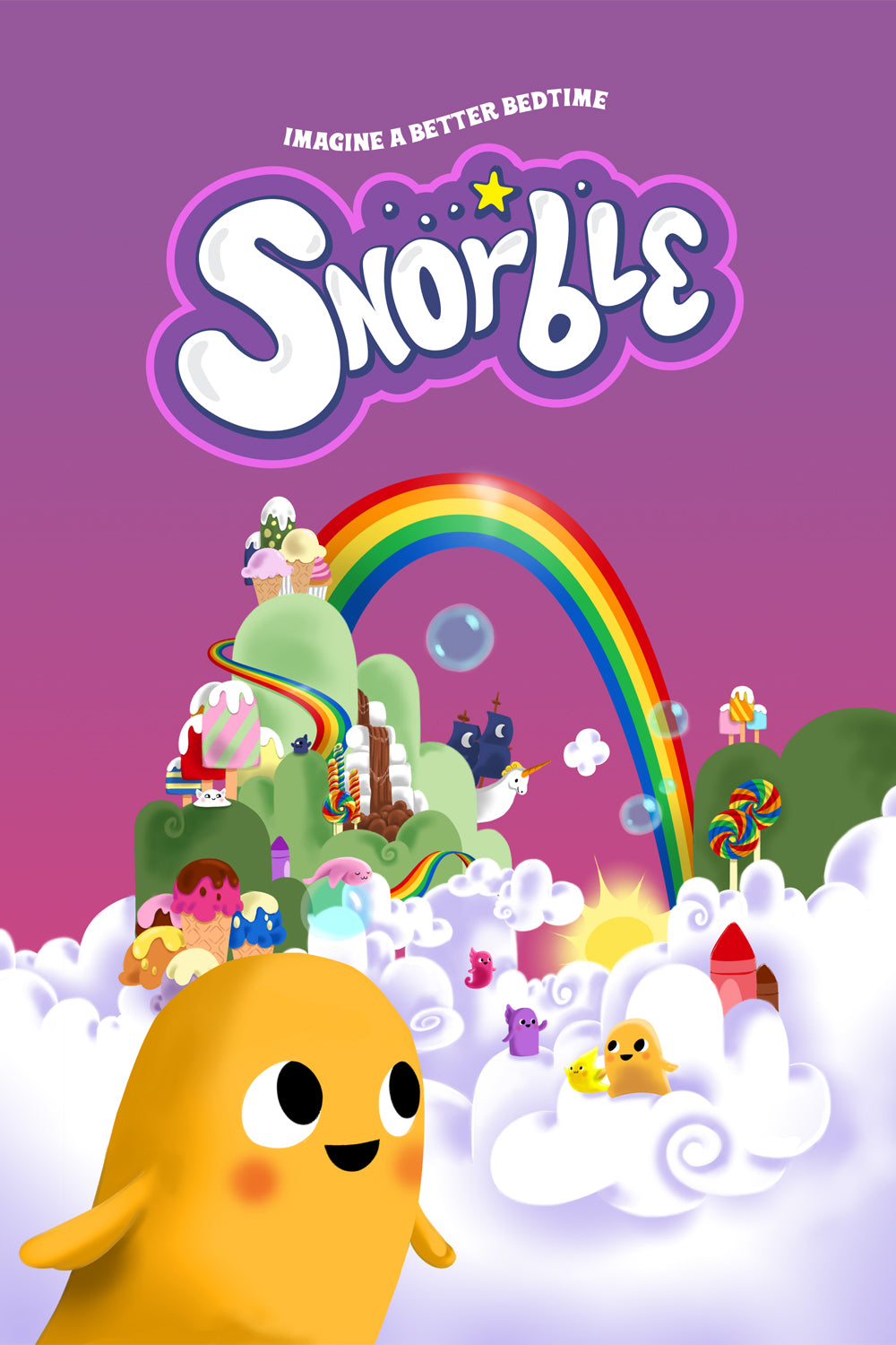 Image contains an illustration of the kingdom of Lullaboo, which contains a number of adorable fantast creatures having fun in the clouds. There are rainbows, chocolate waterfalls, a pirate ship, trees made of ice cream, and more.